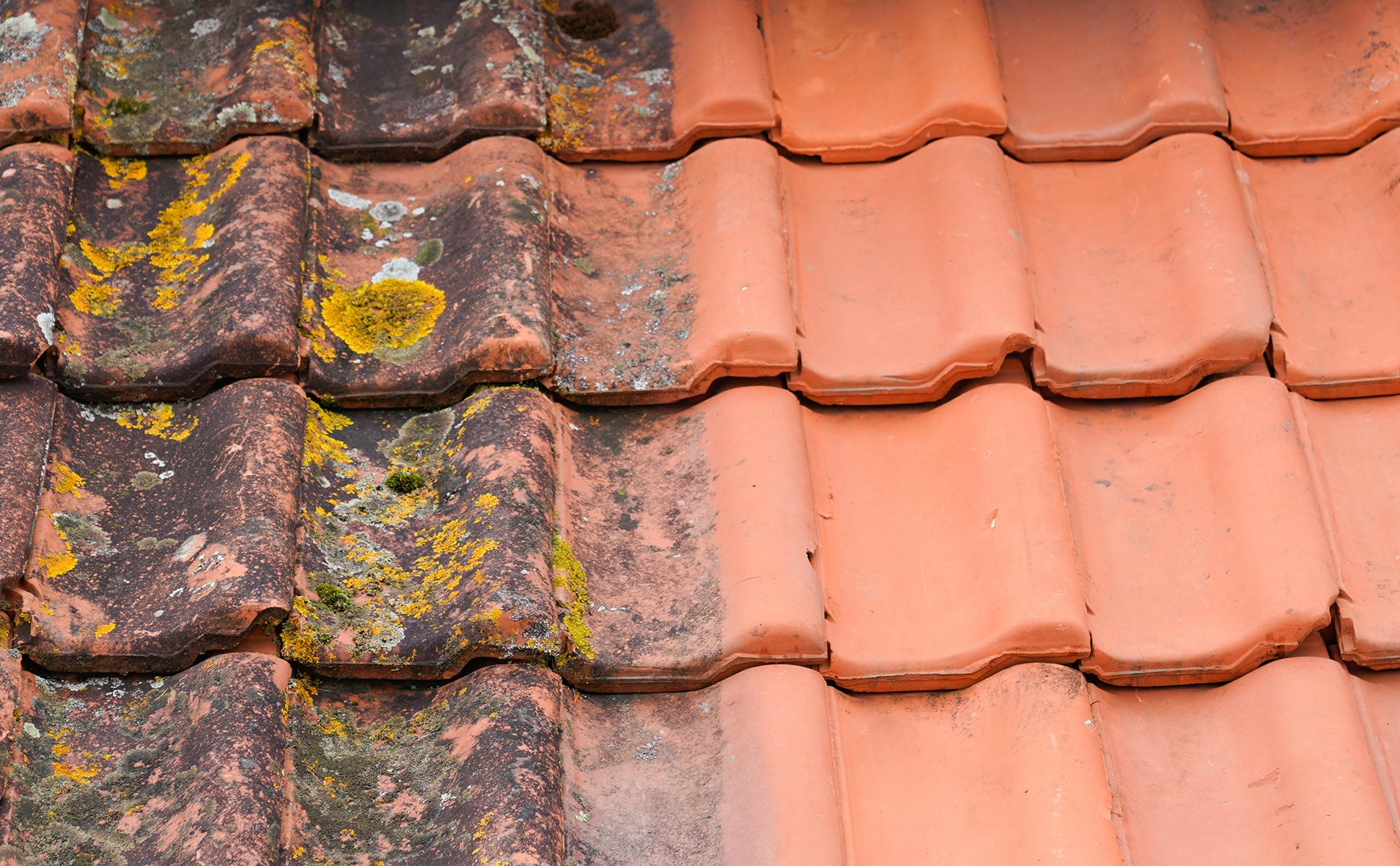 Nettoyage des tuiles d'une toiture en Essonne